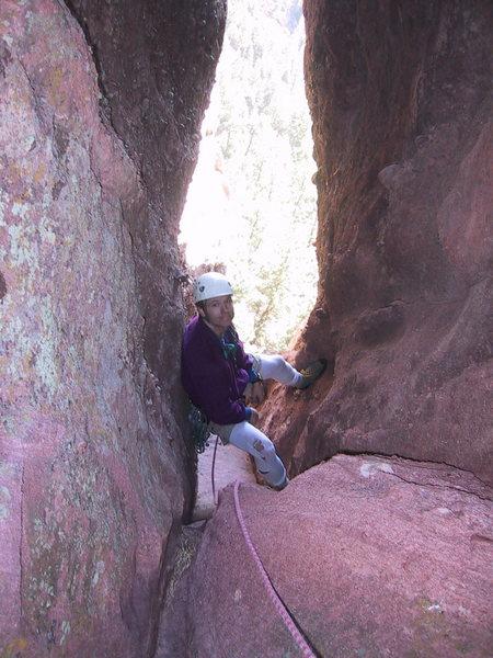 Rock Climbing Photo: Mark belays in the notch.