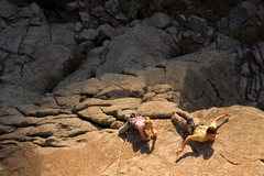 Rock Climbing Photo: Kateri and Justin hanging out on the approach slab...