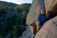 Rock Climbing Photo: Joshua pressing out the exit mantle with style and...