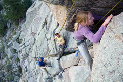 Rock Climbing Photo: Kateri assaulting with Joshua and Justin chilling.