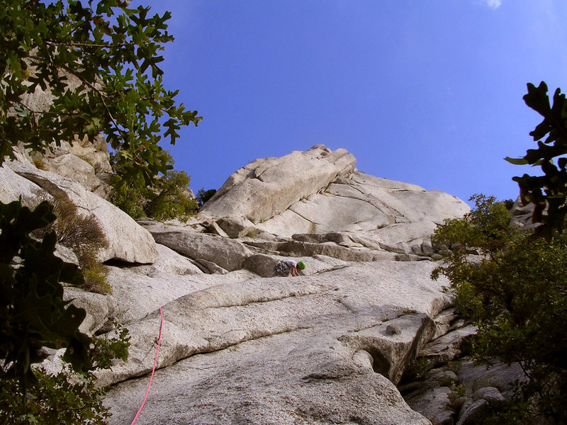 Sam cruising up the first pitch of Zigzag, trying to figure out where the piton went at the first roof