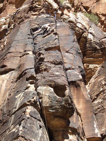 Rock Climbing Photo: Billy looking solid for the exit of Van Allen Belt...