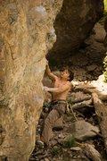 Rock Climbing Photo: Ben at the crux of Evil Alchemist