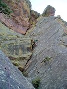 "Rock Climbing Photo: Luke doing some ""body work"" on P2. P2 fe..."