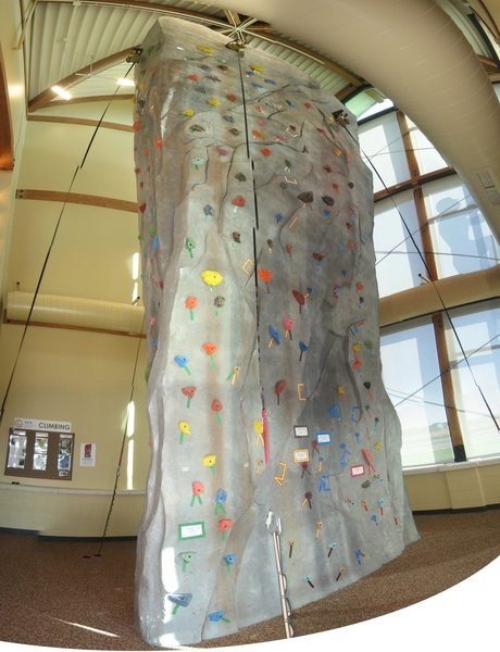 Climbing wall at the Erie Community Center.