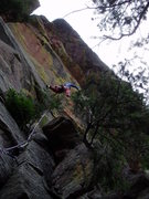 Rock Climbing Photo: Stemming and some surprising holds and gear. Photo...
