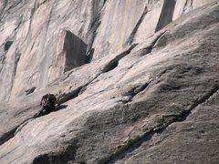 Rock Climbing Photo: Climber on the first pitch of the Nose while El ca...