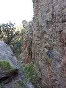 Rock Climbing Photo: Working on setting up TRs before dark.
