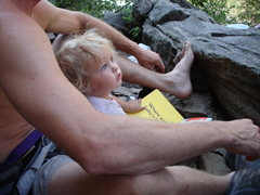 Rock Climbing Photo: Norah reading me a book