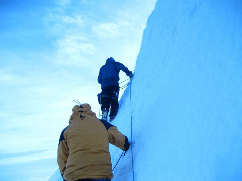 Ted Williams and Nick Cobler nearing the summit on<br>  Mt. Cotopaxi, Ecuador on 01.11.08