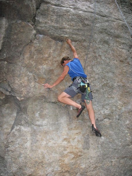The first crux of Maria Direct (5.9).