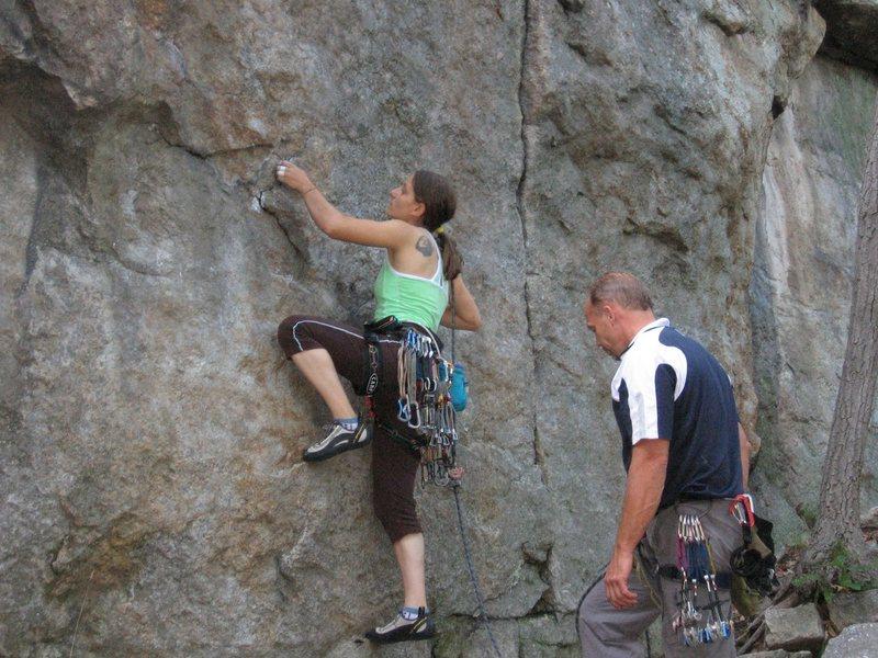 Rock Climbing Photo: Galena leading Maria Direct (5.9)