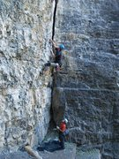 Rock Climbing Photo: Kip looking for jugs on Deep End 5.11a.  (photo by...