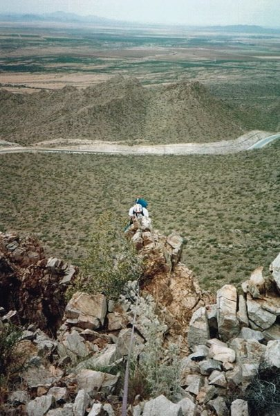 Wade Anderson making his way up a tottering ridge in the Picacho Mts.