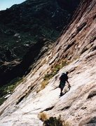 Rock Climbing Photo: At the first rap station on the SSE descent of Ele...