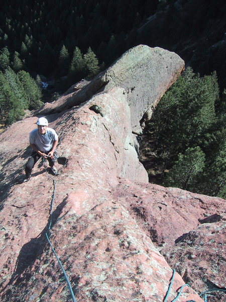 Rock Climbing Photo: Looking down from the belay on the ridge.