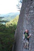 Rock Climbing Photo: Following the moderate face up high.