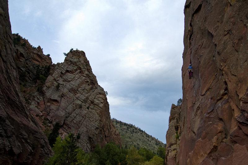 Rock Climbing Photo: An unknown climber makes an evening lap on the fir...