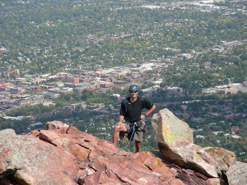 High above Boulder on the North Ridge of the First Flatiron.