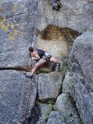 Rock Climbing Photo: Buttchub swallowing any hesitation before committi...