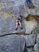 Rock Climbing Photo: Buttchub works out the gear at the last stance for...