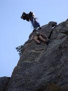Rock Climbing Photo: Buttchub cruising into redpoint happiness.