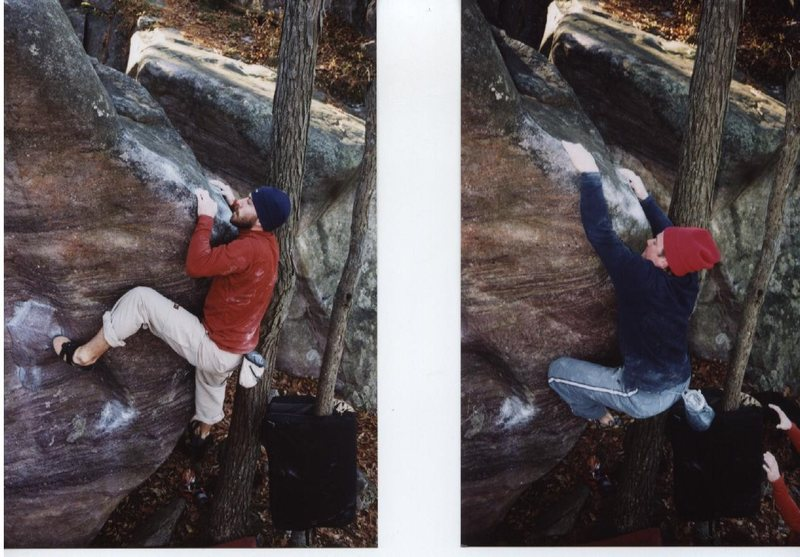 Remo and Mike G. sending the 1st and 2nd sends of the SE corner of the lake boulder