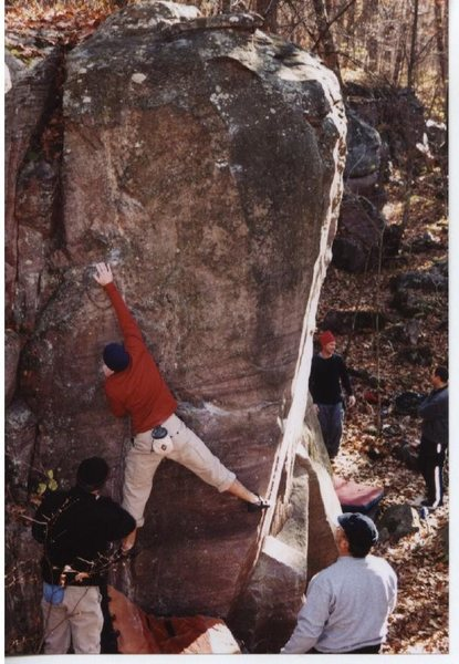 Remo climbing the west face of the amazing pillar. The south face and SE arete are two of the major classics at DLSP