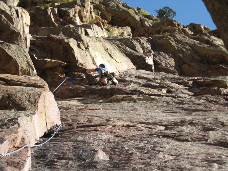 Rock Climbing Photo: Adam Berger on lead of P1 of Calypso - Eldorado Ca...