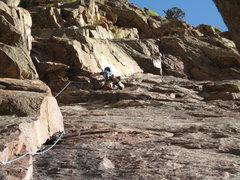 Rock Climbing Photo: Adam Berger on lead of P1 of Calypso - Eldorado Ca...