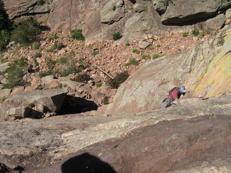 Looking down on P1 of Calypso - Eldorado Canyon SP.