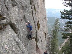 Rock Climbing Photo: Nate A on the FA,  4-22-07, belayed by Edward Cord...