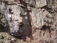 Rock Climbing Photo: Showing the general line of the start of pitch #1....