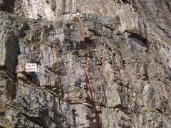 Rock Climbing Photo: The general line of the 2nd half pitch #1. 5.10b.