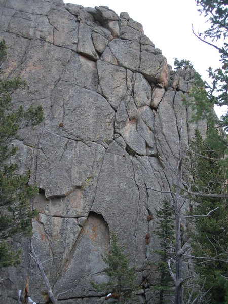 The line of Western Web. It starts in the obvious right leaning system and continues with that same right-trending line to the top.<br> This crag reminds me of the Spider's Web in the Adirondacks of New York......hence the name.