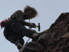 Rock Climbing Photo: Jay cleaning old chain and smash-links