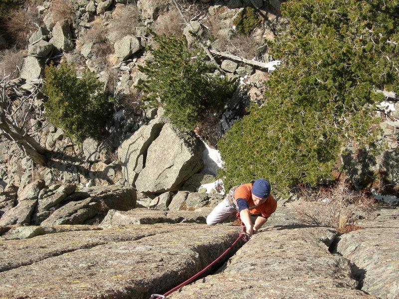 Rock Climbing Photo: Nate A following the FA.  4/20/07.
