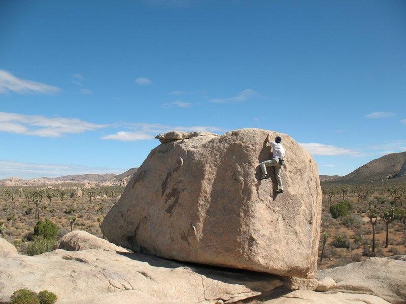 Nearing the top of Maverick (V0), Joshua Tree NP