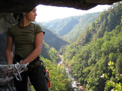 belaying third pitch of digital delight at tallulah gorge