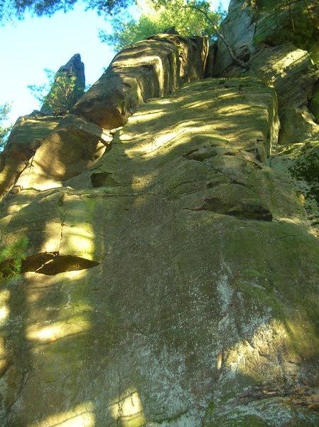 Rock Climbing Photo: Eye for an eye. Follows bolts to roof then right u...