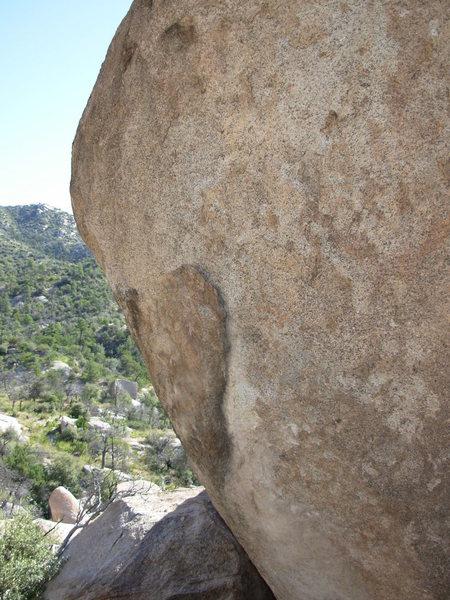 Rock Climbing Photo: Cruisin For A Bruisin. Climbs the flake to the fac...