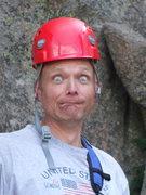 Rock Climbing Photo: Theo tries on too small helmet!