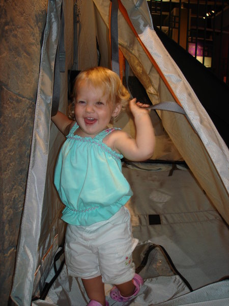 Norah in the portaledge at the mountaineering museum.