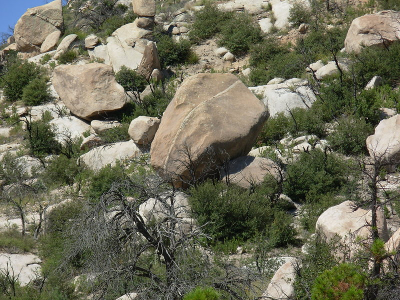 A view of the Quartz Band Boulder from the downhill side.