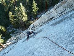 "Rock Climbing Photo: All smiles, Aaron starts the ""tough"" sec..."