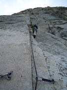 Rock Climbing Photo: Deb casts off on Pitch #2 of 'Whodunit'. Note the ...