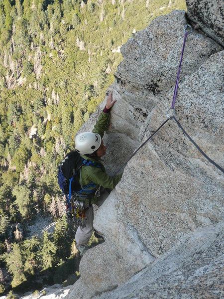 Rock Climbing Photo: Deb enjoying a bit of exposure on the finish of Pi...