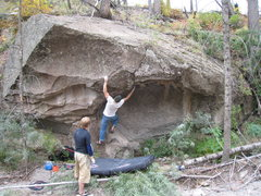 Rock Climbing Photo: Climbers developing the large scooped-out boulder ...