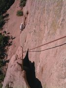 Rock Climbing Photo: Bill Weiss just a little below the traverse on the...
