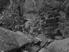 Rock Climbing Photo: Looking down from the twin cracks.